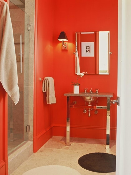 red bathroom with mirrored vanity - Red Bathroom 2015
