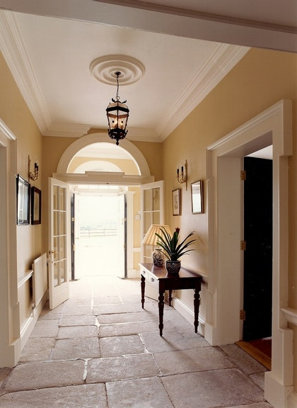 Entry hall with stone floors